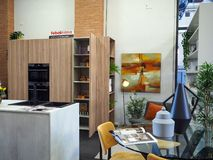 Furniture and design exhibition in Foligno, central Italy. September 2018, Event: Exhibition of furniture and design with recyclable materials in the city of stock photography