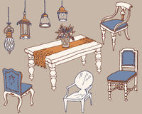Furniture  dinner1 color. Outline a set of classic furniture and lamps for the dining room color blue, beige, orange Royalty Free Stock Images