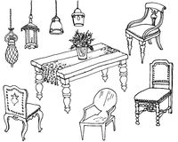 Furniture  dinner set 1. Outline a set of classic furniture and lamps for the dining room Stock Images