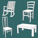 Furniture doodle texture vector illustration