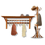 Furniture in dressing room, coat hooks in hallway. Vector illustrator stock illustration