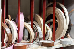 Furniture edges at carpenters workshop. Royalty Free Stock Photos