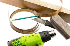 Furniture edges and TOOLS. Large number of tools for the production of Memel Stock Photography