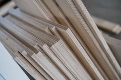 furniture edges and TOOLS. Plywood cuttings for use as textures or background Royalty Free Stock Photos