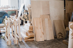 furniture edges and TOOLS. Plywood cuttings at workshop Stock Images