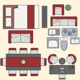 Furniture elements in top view. Vector for your ideas Stock Photo