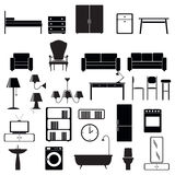 Furniture end lighting icons set. Vector silhouettes Stock Images