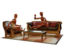 Furniture with figures Royalty Free Stock Photo