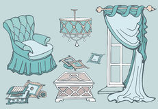Furniture first sofa mint. Set of furniture for a cozy room with a chair and a curtain, vector hand-drawn, color green blue mint Stock Image