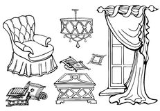 Furniture first sofa. Set of furniture for a cozy room with a chair and a curtain, vector hand-drawn, white background Royalty Free Stock Photos