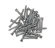 Furniture fittings - screws on white background Royalty Free Stock Photos