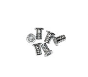 Furniture fittings - screws on white background Royalty Free Stock Image