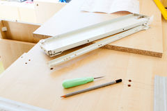Furniture fittings and tools for assembling furniture Royalty Free Stock Photography