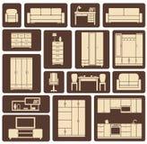 Furniture flat design icons set Royalty Free Stock Photos