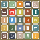 Furniture flat icons on brown background Stock Photo