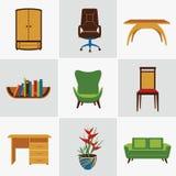 Furniture flat icons Stock Photos