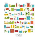 Furniture flat icons Stock Photography
