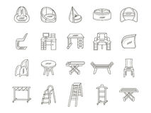 Furniture flat line icons collection. Set of 20 flat thin line style icons collection for furniture. Chairs, table, shelves and other objects for home or office Stock Photos
