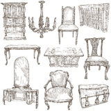 Furniture - Freehand sketches on white Royalty Free Stock Photography