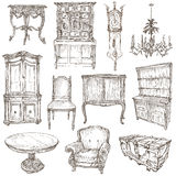 Furniture - Freehand sketches on white Royalty Free Stock Image