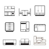 Furniture and furnishing icons Stock Image
