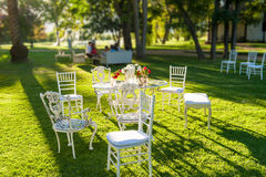 Furniture in the garden. White Furniture in the garden Royalty Free Stock Image
