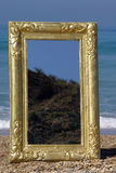 Furniture, golden mirror. Furniture at the beach, golden mirror Stock Photos