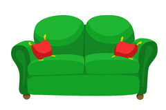 Furniture green sofa red pillow  illustration. Vector Stock Image