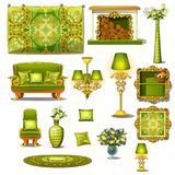 Furniture green vintage style, big vector set Stock Photography