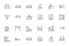 Furniture Hand Drawn Vector Icons 1 Royalty Free Stock Photo