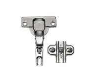 Furniture hardware - hinges on a white background Royalty Free Stock Photos