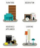 Furniture and home accessories icons. Royalty Free Stock Image