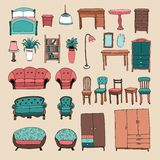 Furniture and home accessories icons set Royalty Free Stock Photography