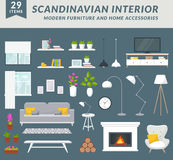 Furniture and home accessories for living room. Modern furniture items and home accessories for living room design. Create your interior in trendy scandinavian Royalty Free Stock Photos