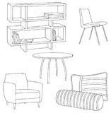 Furniture and Home Decor: Cupboard, pillow, bolster, sofa and table Sketch Outline. Furniture and Home Decor outline and sketch: cupboard, pillow, bolster, table Royalty Free Illustration