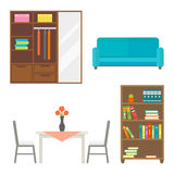 Furniture home decor icon set indoor cabinet interior room library office bookshelf modern   Royalty Free Stock Photos