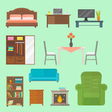 Furniture home decor icon set indoor cabinet interior room library office bookshelf modern restroom silhouette Royalty Free Stock Image