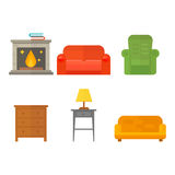 Furniture home decor icon set indoor cabinet interior room library office bookshelf modern restroom silhouette. Decoration vector illustration. Cartoon colorful Stock Photography