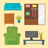Furniture home decor icon set indoor cabinet interior room library office bookshelf modern restroom silhouette Royalty Free Stock Photos