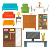 Furniture home decor icon set indoor cabinet interior room library office bookshelf modern restroom silhouette Stock Photos