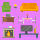 Furniture home decor icon set indoor cabinet interior room library office bookshelf modern restroom silhouette. Decoration vector illustration. Cartoon colorful Stock Images
