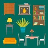 Furniture home decor icon set indoor cabinet interior room library office bookshelf modern restroom silhouette. Decoration vector illustration. Cartoon colorful Stock Photos