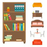 Furniture home decor icon set indoor cabinet interior room library office bookshelf modern restroom silhouette Royalty Free Stock Photography