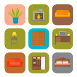 Furniture home decor icon set indoor cabinet interior room library office bookshelf modern restroom silhouette. Decoration vector illustration. Cartoon colorful Royalty Free Stock Images
