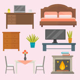 Furniture home decor icon set indoor cabinet interior room library office bookshelf modern restroom silhouette Stock Photography