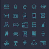 Furniture and home decor icon set. Vector illustration. Furniture icons, simple and thin line design Stock Photos
