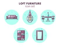 Furniture and home decor icon set. Loft vintage style. 5 icons: couch, pendant lamp, mirror, wardrobe and tab Stock Photos