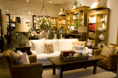 Furniture and home decor store. Designer furniture and home decor in store Stock Photos