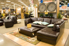 Furniture home decor store. Popular furniture in a store Stock Photos