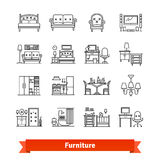 Furniture and home decor. Thin line art icons set Stock Images